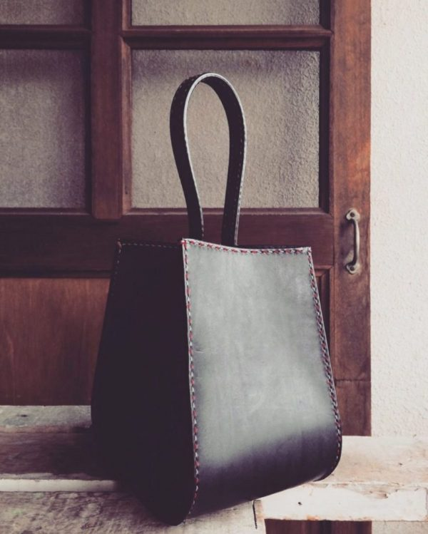 structured leather bucket bag